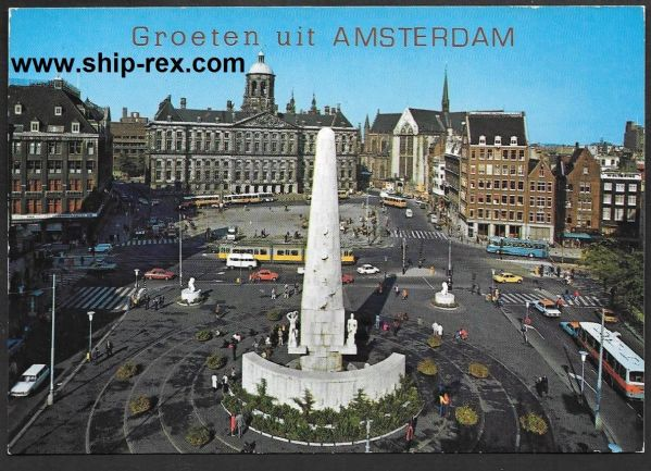 Amsterdam, Royal Palace and National Monument - postcard